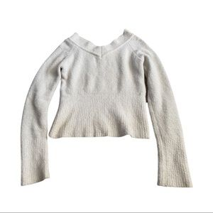 Ambiance white soft v-neck sweater